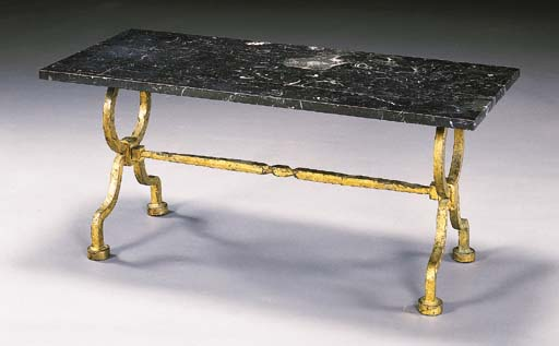 A GILT WROUGHT-IRON AND MARBLE