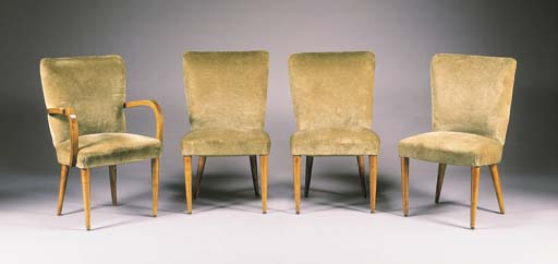 A SET OF FOUR UPHOLSTERED FRUI