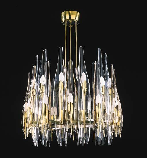 A TWENTY-FOUR LIGHT GLASS AND
