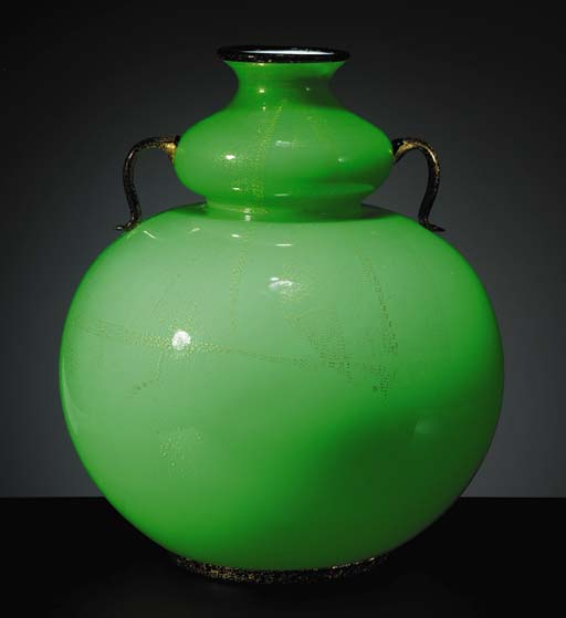 AN APPLIED GLASS VASE