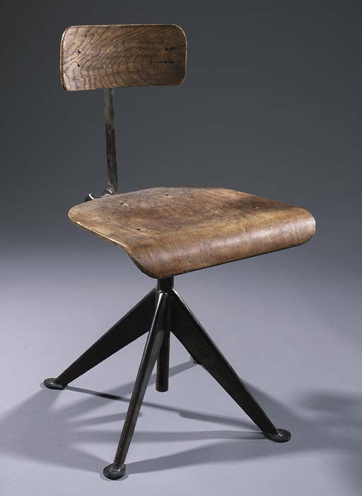 A PLYWOOD AND STEEL DESK CHAIR