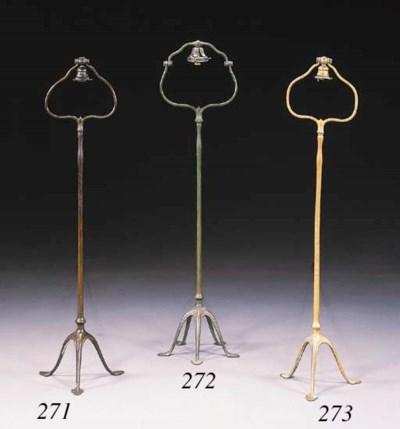 A GILT-BRONZE FLOOR LAMP BASE