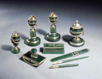 A silver-gilt mounted nephrite
