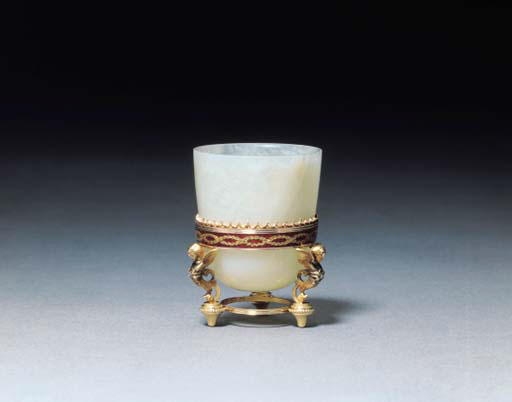 A small jewelled guilloché enamelled gold-mounted bowenite Vase