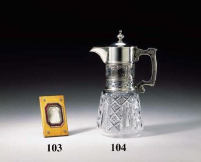 SILVER-MOUNTED CUT-GLASS JUG
