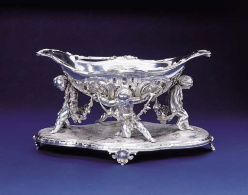 A FRENCH SILVER FIGURAL CENTERPIECE WITH STAND