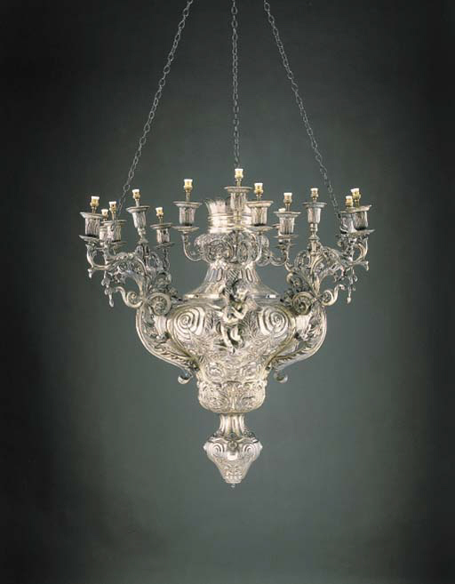 A MONUMENTAL PORTUGUESE SILVER HANGING LAMP