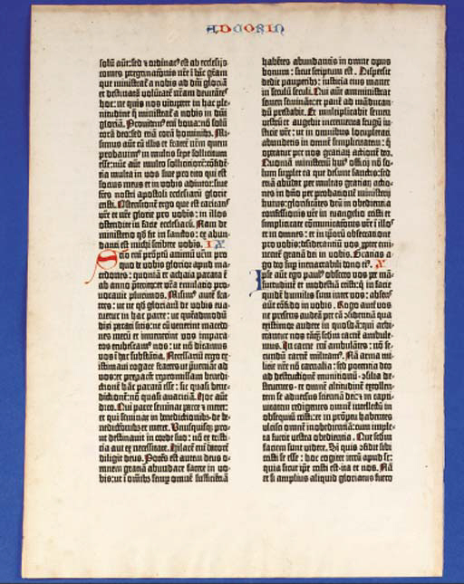 BIBLE, Latin. [Mainz: Johann Gutenberg and Johann Fust, 1455].
