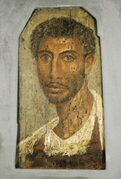 A PAINTED WOOD FAYUM PORTRAIT