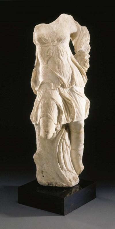 A ROMAN MARBLE FIGURE OF DIANA