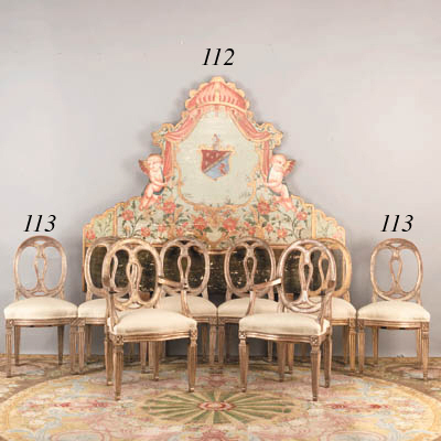 A SET OF EIGHT ITALIAN NEOCLASSIC SILVERED DINING CHAIRS