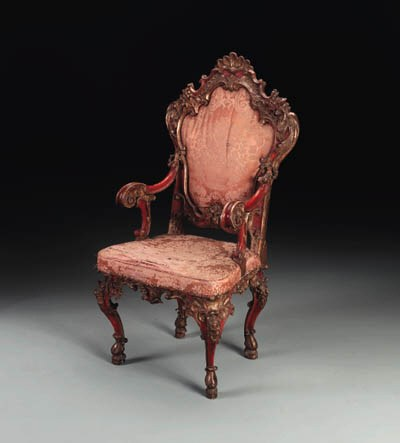 AN IBERIAN ROCOCO RED-PAINTED