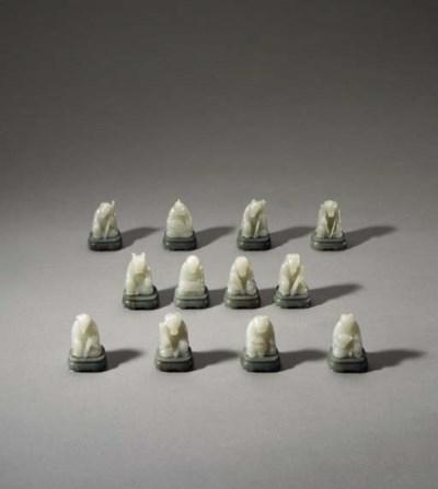 A Set of Small White Jade Zodi