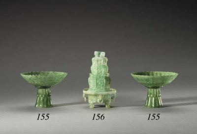 A Pair of Mughal Style Green J