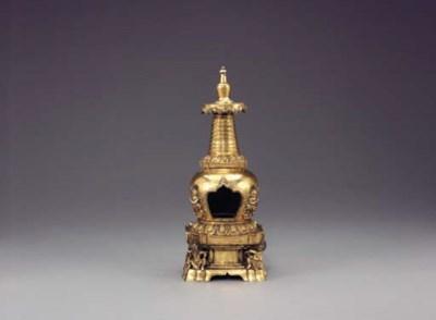A Gilt-Bronze Two-Part Reliqua