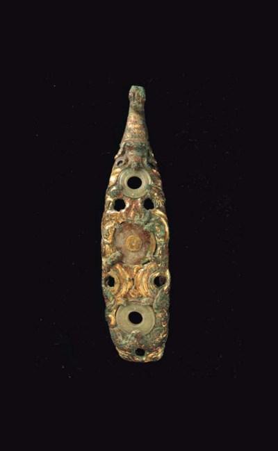 A Rare Large Jade-Inset Gilt-B