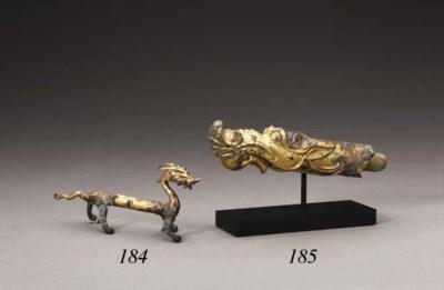 A Small Gilt-Bronze Striding D