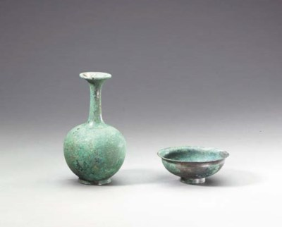 Two Silvered Bronze Vessels