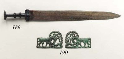 A Pair of Ordos Bronze Plaques