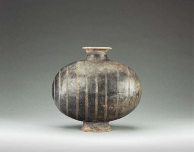 A Large Grey Pottery 'Cocoon'