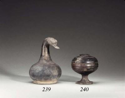 A Grey Pottery Duck-Headed Ves
