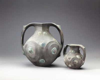 Two Carved Grey Pottery Amphor