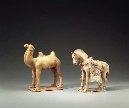 A Straw-Glazed and Painted Pottery Figure of a Camel and a Straw-Glazed Caparisoned Horse