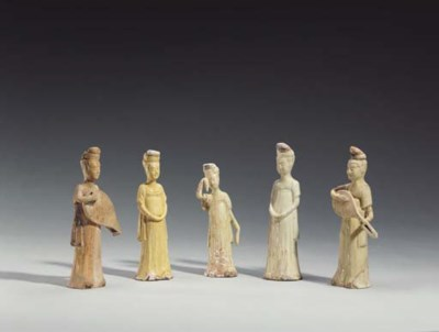 A Group of Five Straw-Glazed S