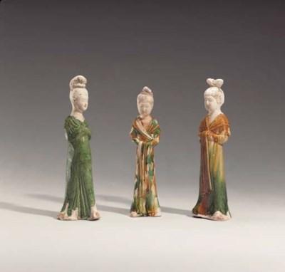 A Group of Three Glazed Female