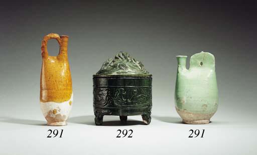 Two Green-Glazed Pottery Vessels