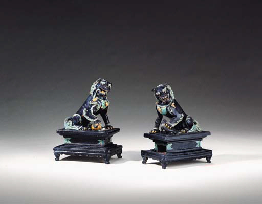 A Pair of Fahua Buddhistic Lions on Stands