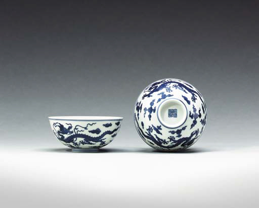 A Fine Pair of Blue and White Dragon Bowls