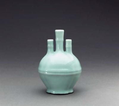 A Small Celadon-Glazed Triple-