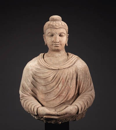 A Large Stucco Bust of Buddha