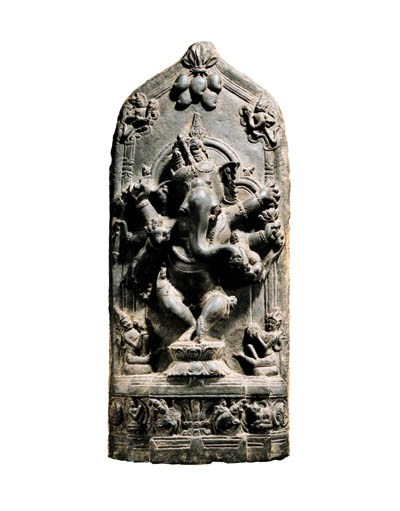 A Black Stone Stele of Ganesha