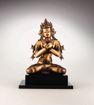 A Large and Important Gilt Bronze Figure of Vajradhara