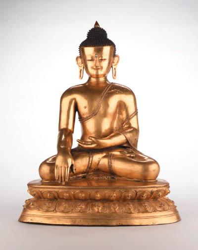 A Large Gilt Bronze Figure of Buddha Shakyamuni