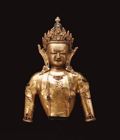 A Gilt Bronze Bust of a Bodhis