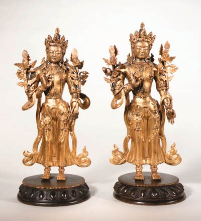 A Pair of Gilt Bronze Figures