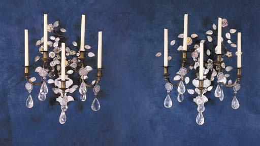 A PAIR OF FRENCH ROCK CRYSTAL,