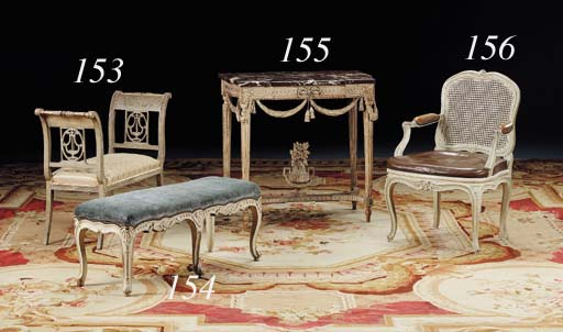 A PAIR OF LOUIS XV PAINTED BAN