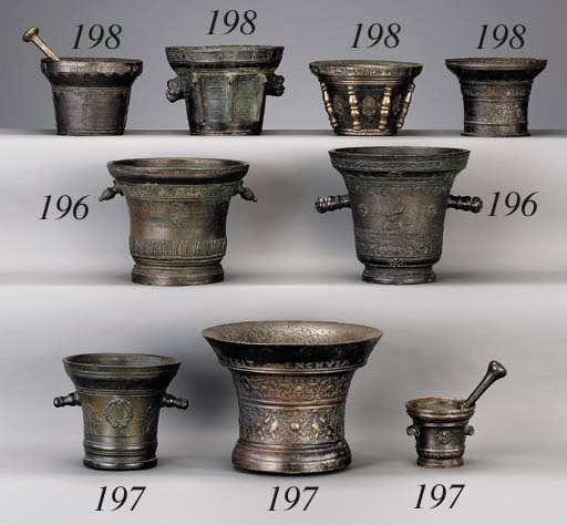 A GROUP OF FOUR SPANISH MORTAR