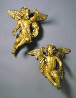 A PAIR OF AUSTRIAN GILTWOOD AN