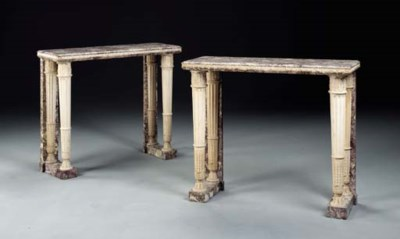 A PAIR OF FRENCH MARBLE CONSOL