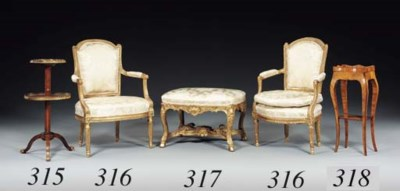 TWO LOUIS XVI GILTWOOD FAUTEUI