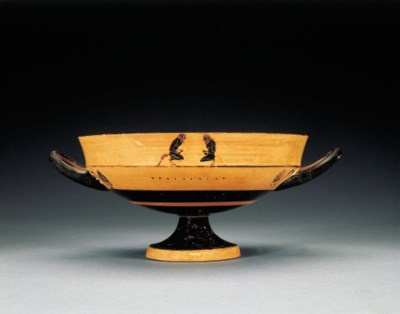 AN ATTIC BLACK-FIGURED LIP-CUP