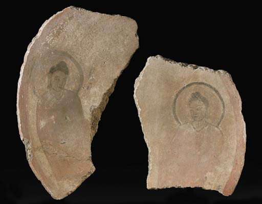 Two Stucco Fragments of a Halo