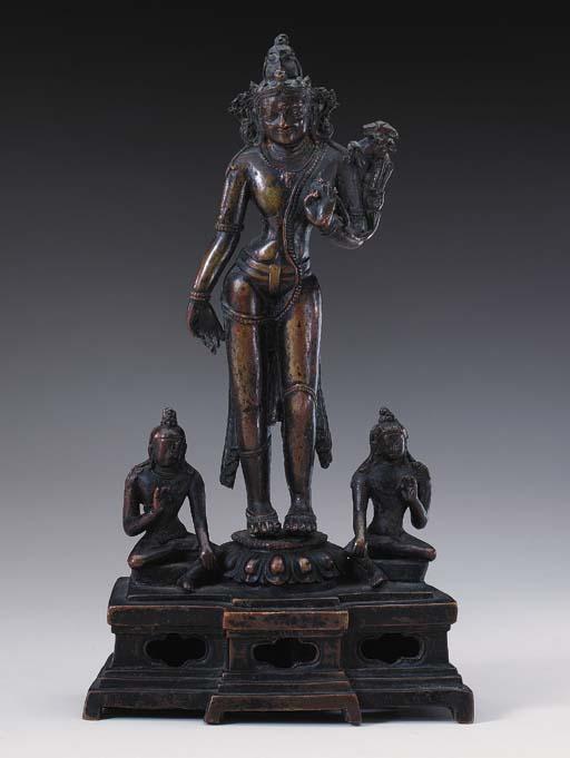 A Bronze Triad of Manjushri