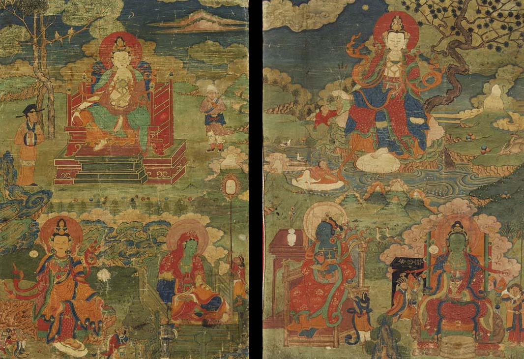 A Pair of Thangkas Depicting A