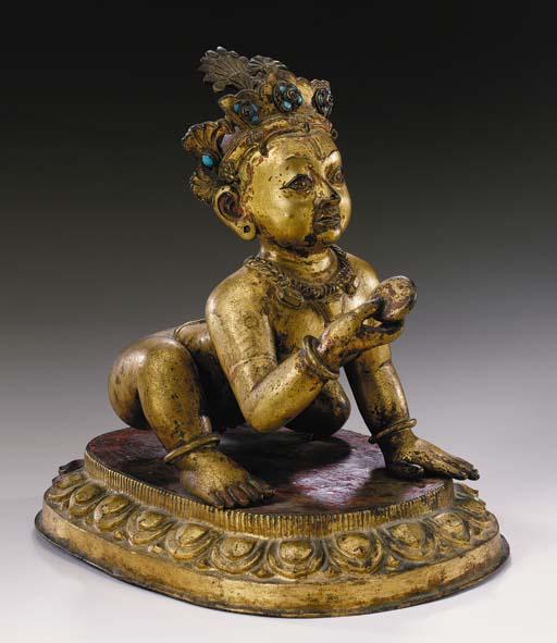 A Gilt Bronze Figure of Krishn